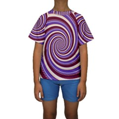 Woven Spiral Kids  Short Sleeve Swimwear