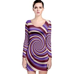 Woven Spiral Long Sleeve Bodycon Dress