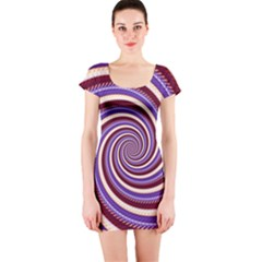 Woven Spiral Short Sleeve Bodycon Dress