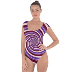 Woven Spiral Short Sleeve Leotard