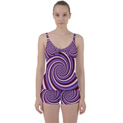 Woven Spiral Tie Front Two Piece Tankini