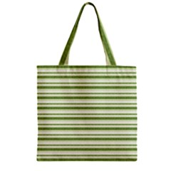 Spring Stripes Zipper Grocery Tote Bag