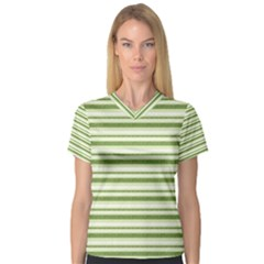 Spring Stripes V Neck Sport Mesh Tee