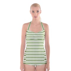 Spring Stripes Boyleg Halter Swimsuit