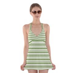 Spring Stripes Halter Swimsuit Dress