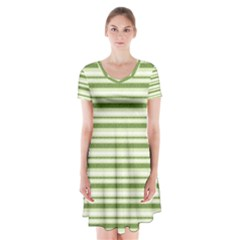 Spring Stripes Short Sleeve V Neck Flare Dress