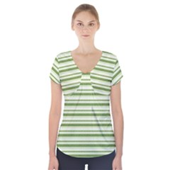 Spring Stripes Short Sleeve Front Detail Top