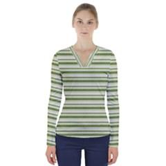 Spring Stripes V Neck Long Sleeve Top