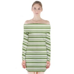 Spring Stripes Long Sleeve Off Shoulder Dress