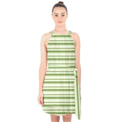 Spring Stripes Halter Collar Waist Tie Chiffon Dress