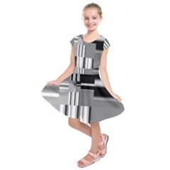 Black And White Endless Window Kids  Short Sleeve Dress