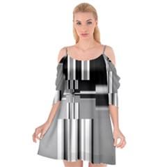Black And White Endless Window Cutout Spaghetti Strap Chiffon Dress