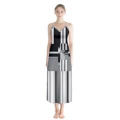 Black And White Endless Window Button Up Chiffon Maxi Dress