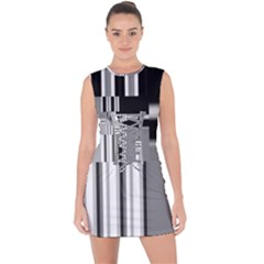 Black And White Endless Window Lace Up Front Bodycon Dress