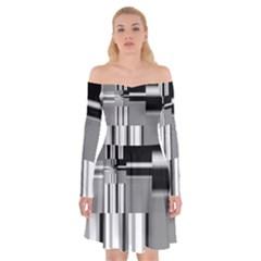 Black And White Endless Window Off Shoulder Skater Dress