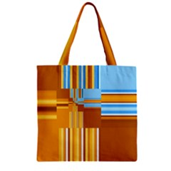 Endless Window Blue Gold Zipper Grocery Tote Bag