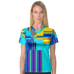 Colorful Endless Window V Neck Sport Mesh Tee