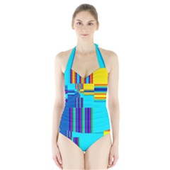 Colorful Endless Window Halter Swimsuit