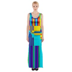 Colorful Endless Window Maxi Thigh Split Dress
