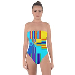 Colorful Endless Window Tie Back One Piece Swimsuit