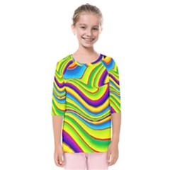 Summer Wave Colors Kids  Quarter Sleeve Raglan Tee