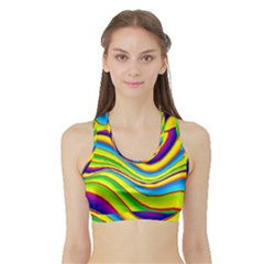 Summer Wave Colors Sports Bra With Border