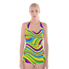 Summer Wave Colors Boyleg Halter Swimsuit