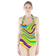 Summer Wave Colors Halter Swimsuit