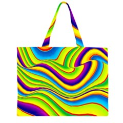 Summer Wave Colors Zipper Large Tote Bag