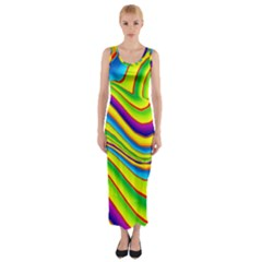 Summer Wave Colors Fitted Maxi Dress