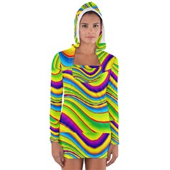 Summer Wave Colors Long Sleeve Hooded T Shirt