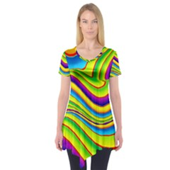 Summer Wave Colors Short Sleeve Tunic