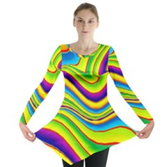 Summer Wave Colors Long Sleeve Tunic