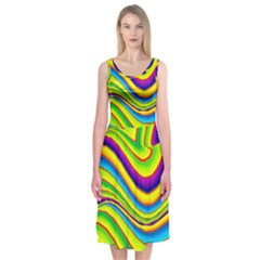 Summer Wave Colors Midi Sleeveless Dress