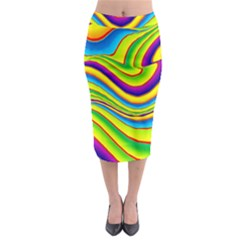 Summer Wave Colors Midi Pencil Skirt