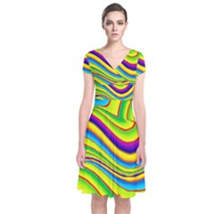 Summer Wave Colors Short Sleeve Front Wrap Dress