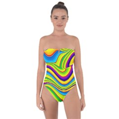 Summer Wave Colors Tie Back One Piece Swimsuit
