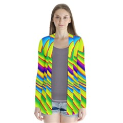 Summer Wave Colors Drape Collar Cardigan