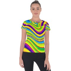Summer Wave Colors Short Sleeve Sports Top