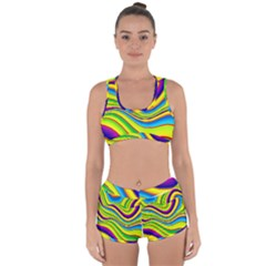 Summer Wave Colors Racerback Boyleg Bikini Set