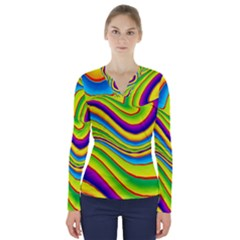 Summer Wave Colors V Neck Long Sleeve Top