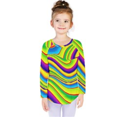 Summer Wave Colors Kids  Long Sleeve Tee