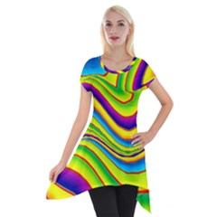 Summer Wave Colors Short Sleeve Side Drop Tunic