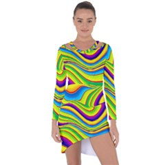 Summer Wave Colors Asymmetric Cut Out Shift Dress