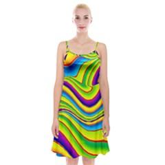 Summer Wave Colors Spaghetti Strap Velvet Dress