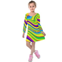 Summer Wave Colors Kids  Long Sleeve Velvet Dress