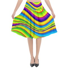 Summer Wave Colors Flared Midi Skirt