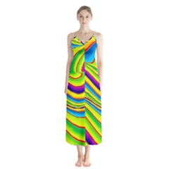 Summer Wave Colors Button Up Chiffon Maxi Dress