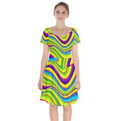 Summer Wave Colors Short Sleeve Bardot Dress