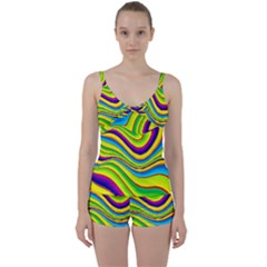 Summer Wave Colors Tie Front Two Piece Tankini